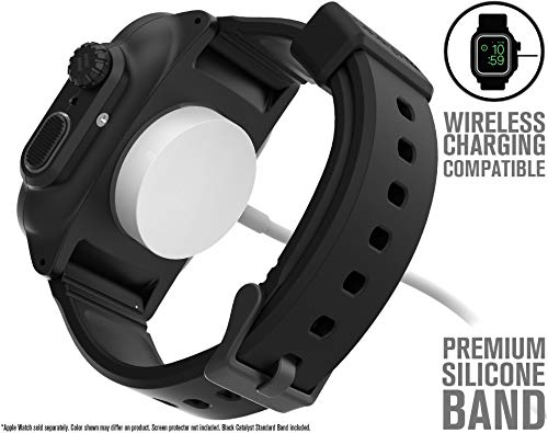 Catalyst Waterproof Apple Watch Case Series 4 44mm with Premium Soft Silicone Apple Watch Band, Shock Proof Impact Resistant [Rugged iWatch Protective case] - Stealth Black by Catalyst (Image #2)