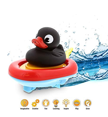 - DolliBu Boat Racer Buddy, Fun Educational Bath Toy Finger Puppet Pull and Go Water Racing Pal for Shower Pool Bathtub Swim Hard Surfaces for Baby Toddler and Boy - 6 Inch - 3 in 1 Game (Black Duck)