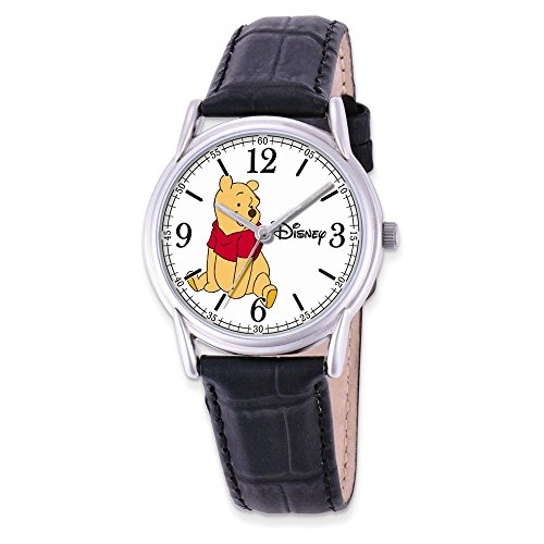 Jewelry Adviser Watches Disney Adult Size Black Leather Strap Winnie The Pooh Watch
