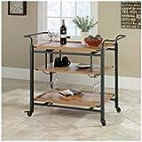 Amazon Com Myra Rustic Mobile Kitchen Bar Serving Cart