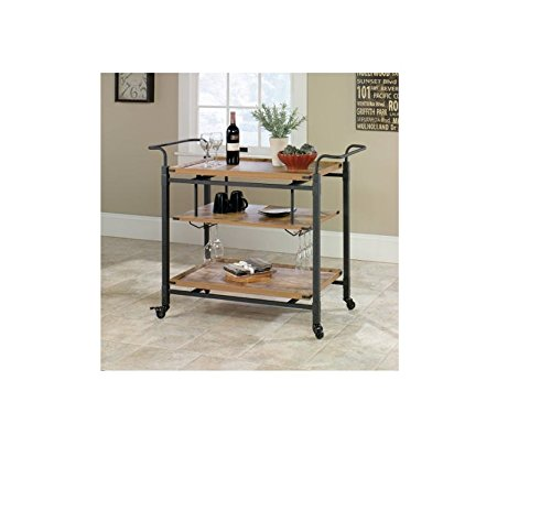 3 Tiered Metal Made Rustic Country Bar Cart, Antiqued Black/Pine with Caster Wheels for Easy Mobility from Better Homes and Gardens