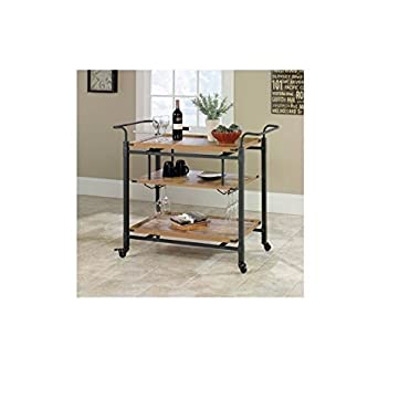 3 Tiered Metal Made Rustic Country Bar Cart, Antiqued Black/Pine with Caster Wheels for Easy Mobility