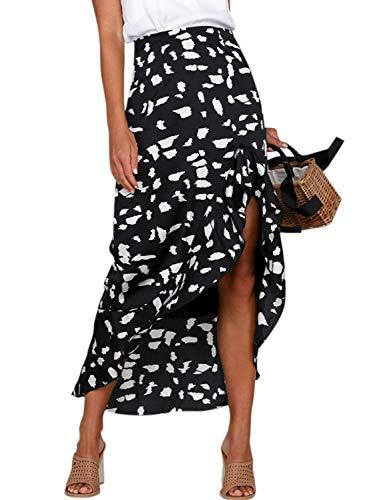 (Conmoto Women's High Waist Animal Print Midi Skirt Asymmetrical Ruffle Split Long Skirt Black 8)