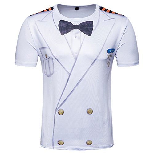 Men's Hipster Short Sleeve Top 3D Printed Tshirt Male Creative Sailor Suit Printed T (Sailor Suits For Men)