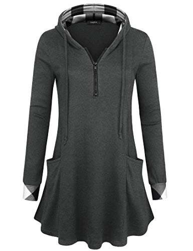 VALOLIA Tunic Hoodies, Women's 2 Pockets A-line Design Color Block Classic Casual Sweatshirt T-Shirt Carbon Black XL
