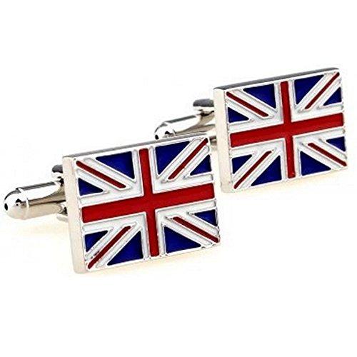 RXBC2011 Men's British Flag Style French Shirts Cufflinks 1 Pair (British Flag Cufflinks)