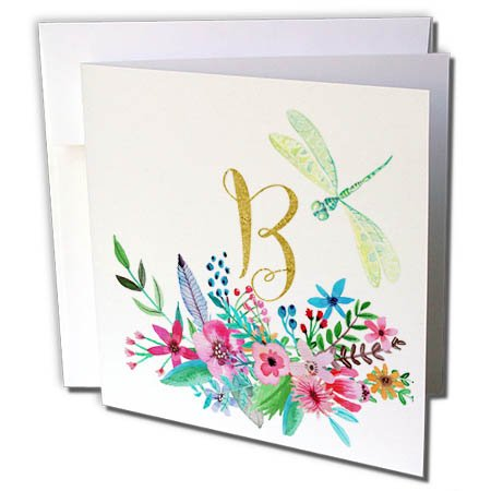 3dRose Anne Marie Baugh - Monograms - Pretty Watercolor Floral Green Dragonfly, Gold Monogram B Design - 6 Greeting Cards with envelopes (Floral Monogram Note Card)