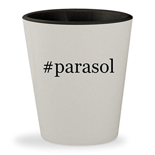 #parasol - Hashtag White Outer & Black Inner Ceramic 1.5oz Shot Glass (Pub Garden Parasols)