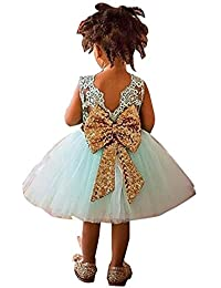 4809427630cff Newborn Toddler Baby Girls Sequins Bowknot Floral Princess Flower Girl  Dresses