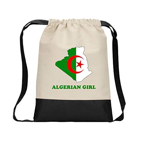Algerian Girl Cotton Canvas Color Drawstring Bag Backpack - Black