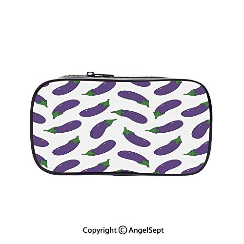 Big Capacity Pencil Case 1L Storage,Yummy and Funny Eggplants Kid Friendly Drawing Nutritious Meals Vegan Natural Decorative Violet White 5.1inches,Desk Pen Pencil Marker Stationery Organizer with Zi for $<!--$9.88-->