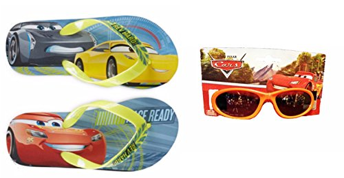 Ait Corporation Disney Pixar Disney Pixar Cars Toddler Flip Flop Sandals Plus 100% UV Protection Sunglasses (Medium - Sunglasses Lightning
