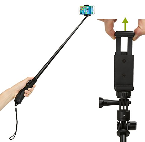 selfie stick ikross bluetooth monopod stick with adapter for gopro camera and smartphone. Black Bedroom Furniture Sets. Home Design Ideas