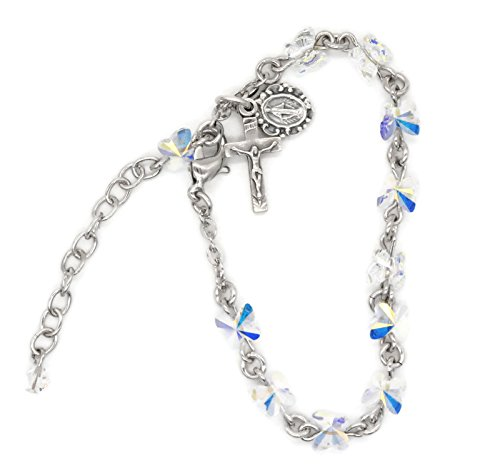 (Bertof (3 7/18) Rosary Bracelet Swarovski Crystal Aurora Crystal Butterfly Beads SKIBRAC Copyrighted Paul Herbert Blessing Included)
