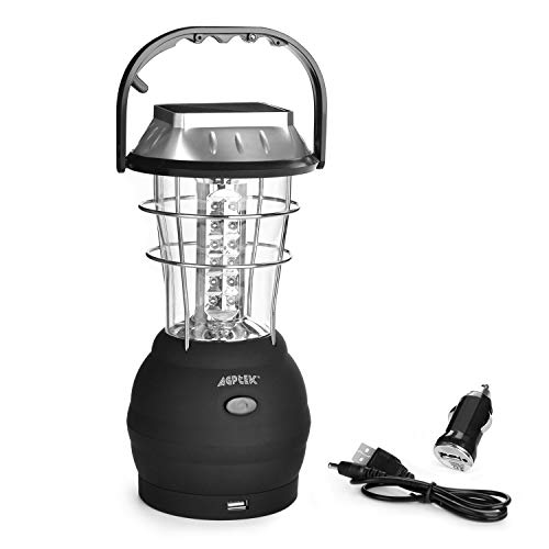(Solar Lantern, AGPtek 5 Mode Hand Crank Dynamo 36 LED Rechargeable Camping Lantern Emergency Light, Ultra Bright LED Lantern - Car Charge - Camping gear for Hiking Emergencies Hurricane Outages)