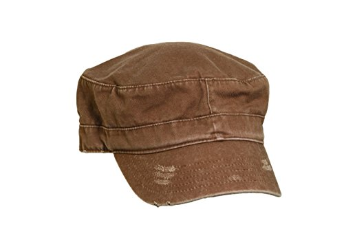 Dorfman Pacific Unisex Distressed Cotton Military Cadet Hat, Brown One - Pacific Hat Military