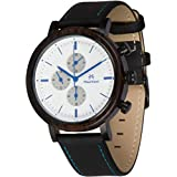 Maui Kool Steel and Wood Hybrid Chronograph Watch for Men Wailea Collection Leather Band Bamboo Box (W4 - White and Blue)