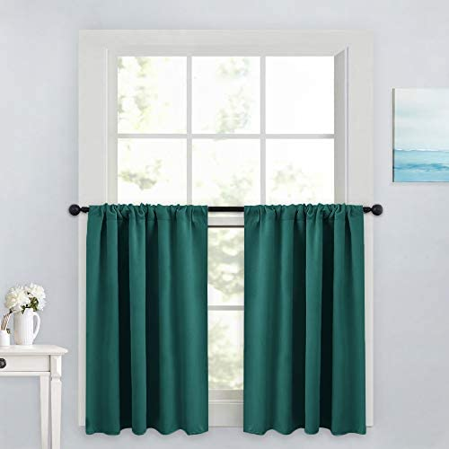 PONY DANCE Small Kitchen Tiers – Rod Pocket Curtain Valances Thermal Insulated Window Drapes for Nursery Kitchen Living Room, 42 W x 36 L, Hunter Green, 2 Panels