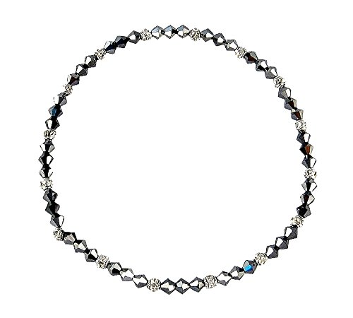 (Crystal Bead Ankle Bracelet Anklet - Metallic Gray (A35))