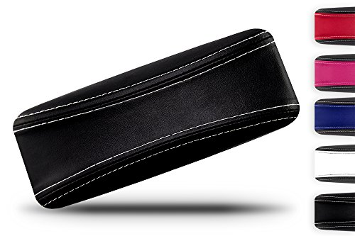 Protective Glasses Case for Men and Women - Prevent Scratches on your Glasses and Sunglasses - Premium Leather Felt Lined - 100% Satisfaction Guarantee - Black on Black with White - Wholesale Inexpensive Sunglasses