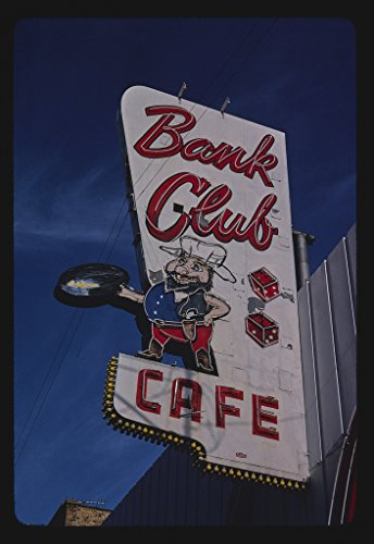 Vintography 16 x 24 Photo of Bank Club Cafe Sign, Rts. 6 & 50, Ely, Nevada 1980 Ready to Frame 75a