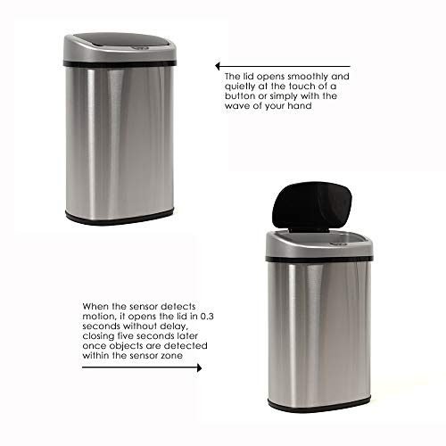 Kitchen Trash Can for Bathroom Bedroom Home Office Automatic Touch Free High-Capacity Garbage Can with Lid Brushed Stainless Steel Waste Bin 13 Gallon / 50L