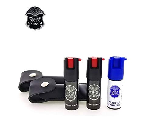 POLICE MAGNUM Pepper Spray Self Defense 2 Pack 0.5oz Keychain Holster with Practice Spray