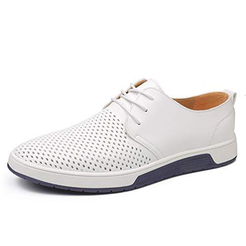 Planos Agujeros Cuero Transpirables Casual Zapatos Blanco Para Hombres Verano w4xYPwq