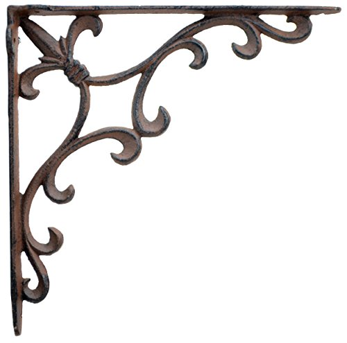 (Ornate Fleur De Lis Wall Shelf Bracket Brace Rust Brown Cast Iron 10