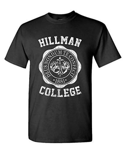 Hillman College - Retro 80s Sitcom tv - Mens Cotton T-Shirt, L, Black