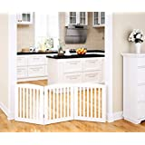 PAWLAND Wooden Freestanding Foldable Pet Gate for Dogs...