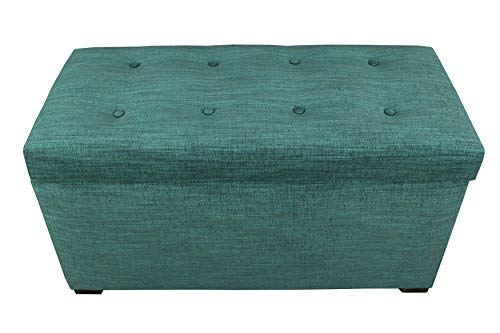MJL Furniture Designs Angela Collection Button Tufted Upholstered Lift Top Medium Sized Bedroom Chest Storage Trunk, Belfast Series, Turquoise