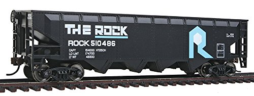 Rock Railroad Island (Walthers, Inc. Ready to Run Rock Island Offset Hopper, Black/Blue/White)