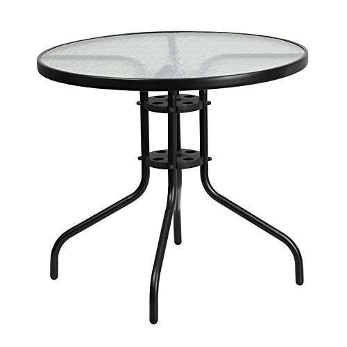 31.5'' Round Tempered Glass Metal Black Restaurant Table - Indoor and Outdoor Patio Table by Belnick