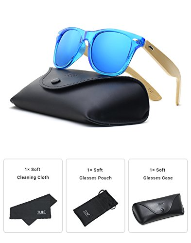 TIJN Bamboo Wood Temple Color Lens Wayfarer - Buy Wooden Sunglasses