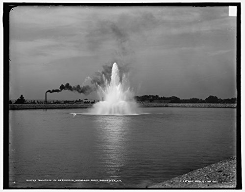 (Vintography 16 x 20 Ready to Hang Canvas Wrap Fountain in Reservoir Highland Park Rochester N Y 1905 Detriot Publishing 17a)