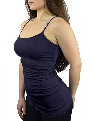 9031647a04a9d9 Belle Donne Tank Tops With Built in Bra Cami Camisole Women Girls Juniors  Navy Small