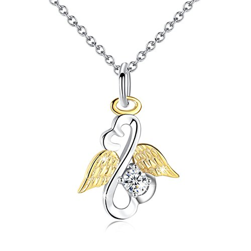 Sterling Silver Women Angel Necklace Gold Plated Wings with Crystal Open Your Heart Girls Jewelry (Angel Heart Pendant)