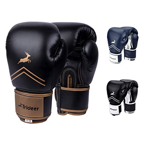 Trideer Pro Grade Boxing Gloves, Kickboxing Bagwork Gel Sparring Training Gloves, Muay Thai Style Punching Bag Mitts, Fight Gloves Men & Women (Black & Golden, 14 oz) (Kickboxing Bag Gloves)