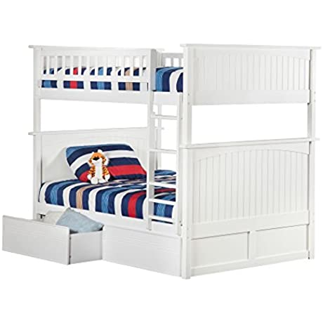Atlantic Furniture Nantucket Bunk Bed Full Over Full With Flat Panel Bed Drawers In White