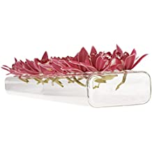 """Chive - Hudson 24"""" Large, Long Rectangle Unique Clear Glass Flower Vase, Long and Low Laying Elegant Centerpiece Vase, Decorative Vase for Home Decor and Weddings, one of Oprah's Favorite Things!"""