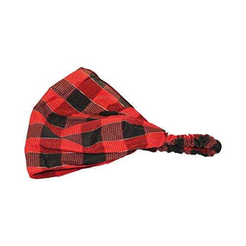 Red Plaid Soft Wide Holiday Headband Boho Head Wrap (Motique (Plaid Wide Headband)