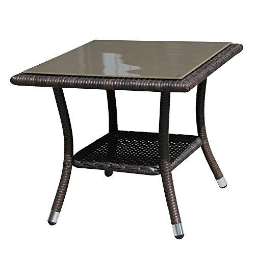 Super Patio Outdoor Patio Wicker Rattan Table Rattan Square Glass Top Wicker Coffee Table End Side Storage Table, Espresso Brown,Aluminum Frame