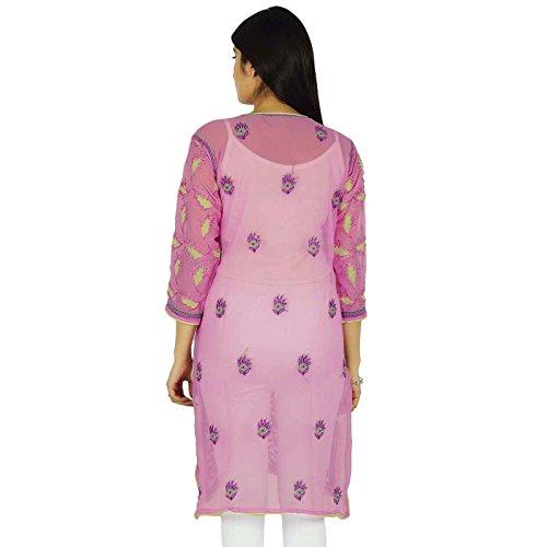 Chikan india de Bollywood bordado Kurta étnico Kurti Georgette Túnica Rosado y morado