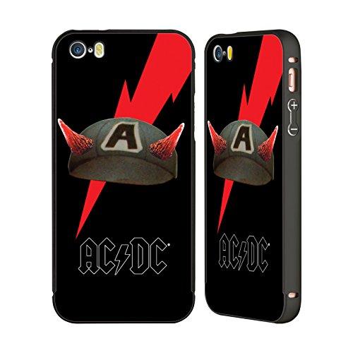 Officiel AC/DC ACDC Casquette De Boulon Iconique Noir Étui Coque Aluminium Bumper Slider pour Apple iPhone 5 / 5s / SE