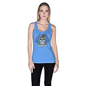 Creo Take Me To Jumeirah Bikers Tank Top For Women - L, Blue