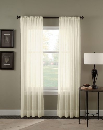 (Curtainworks Trinity Crinkle Voile Sheer Curtain Panel, 51 by 95