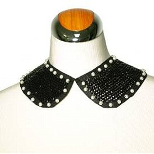 Sequined Black Collar Necklace with Faux Pearls - Plus (Peter Collar Pan Sequined)