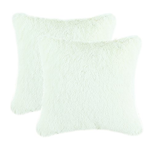 CaliTime Pack of 2 Super Soft Throw Pillow Covers Cases for Couch Sofa Bed Solid Plush Faux Fur 18 X 18 Inches Ivory
