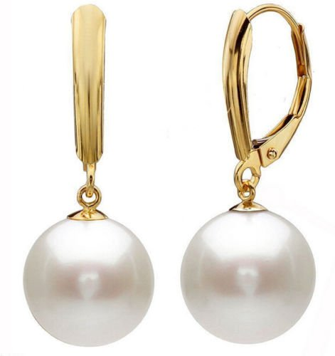 DDWShop(TM 10mm White Round South Sea Shell Pearl 14K Gold Plated Leverback Earrings AAA -